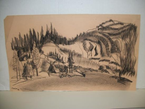 Vintage Charcoal Mountain Scene Signd/Dated - Marin 47