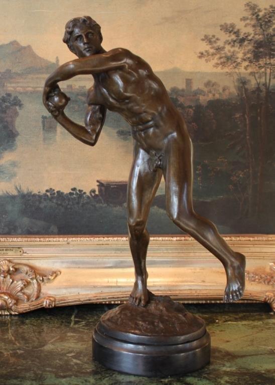 Nude Male Olympian Bronze Sculpture
