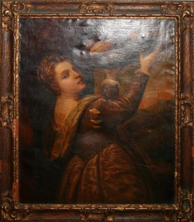 Sudent of TITIAN Young Woman with Dish of Fruit