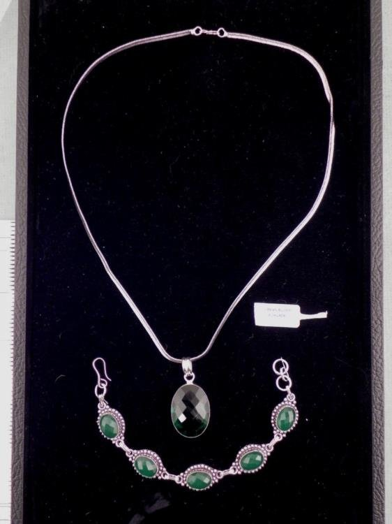 Emerald 2 Pc German Sterling Bracelet, Pendant Necklace