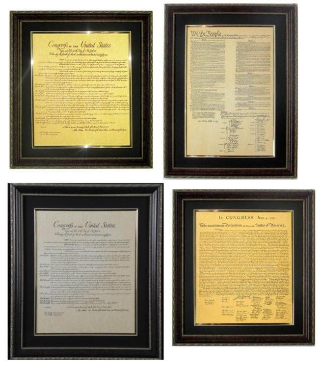 3 U.S. Bill of Rights Constitution Declaration Framed