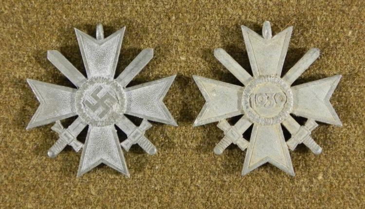 2 ORIGINAL WAR MERIT NAZI CROSSES W/SWORDS -UNFINISHED