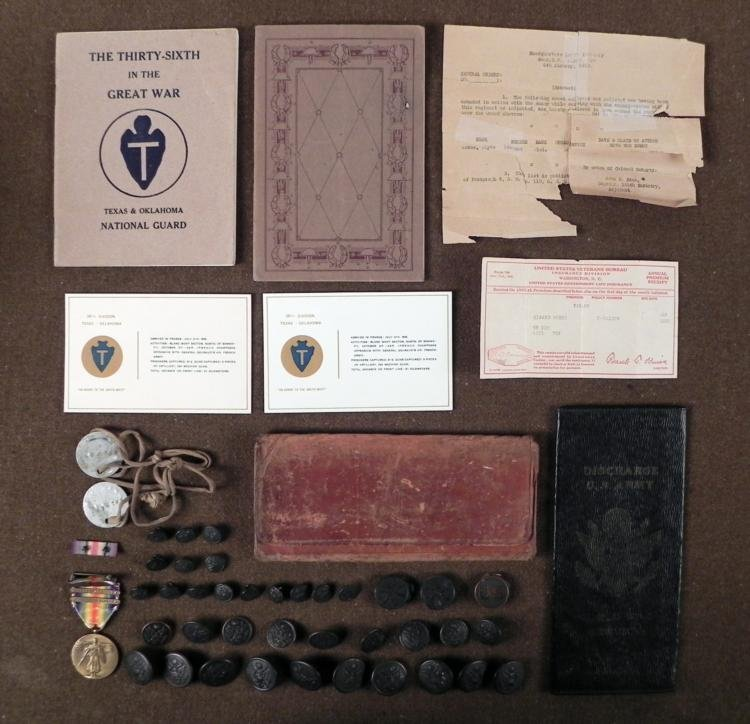 LARGE WWI LOT TEXAS PVT 1ST CLASS Co L 144TH INFANTRY