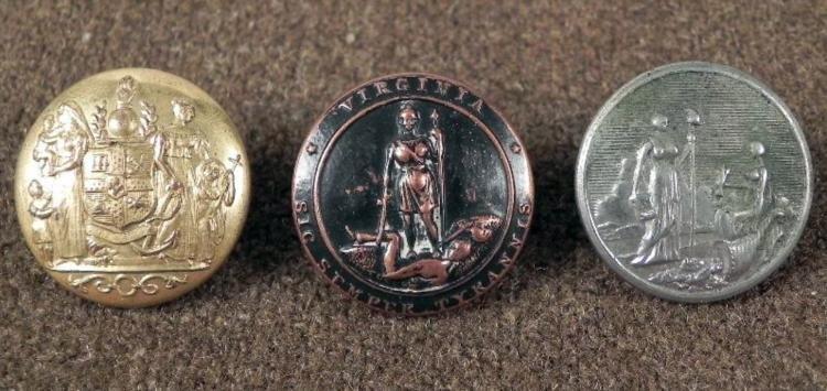 3 Virginia National Guard Antique Buttons Gilt, Bronze