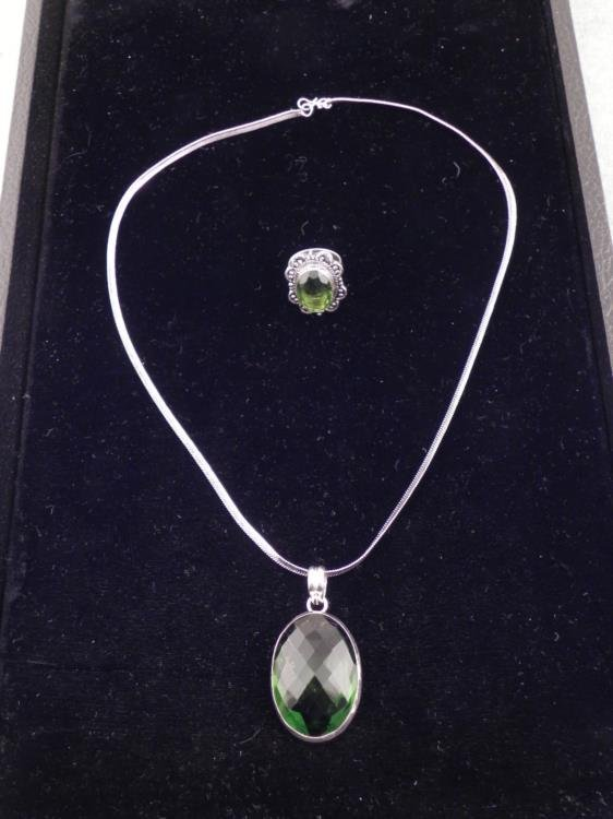 Green Emerald 2 Pc Sterling Ring & Pendant Necklace Set