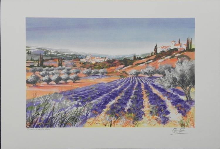 Ella Fort Lavender Fields II S/N Lithograph Print