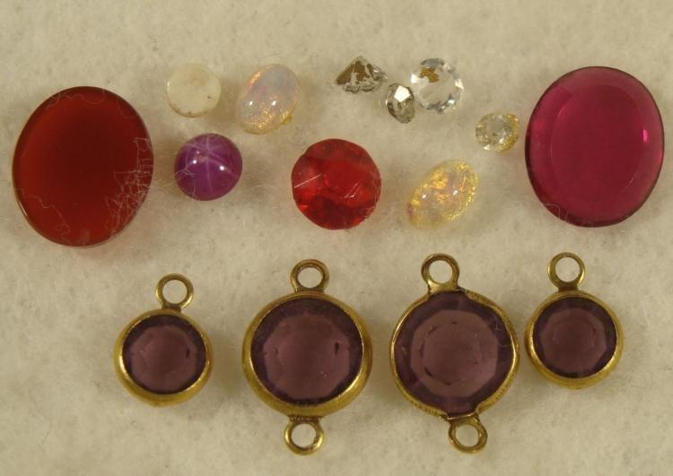 12+ Assorted Gemstones Oval, Round Ruby, Amethyst