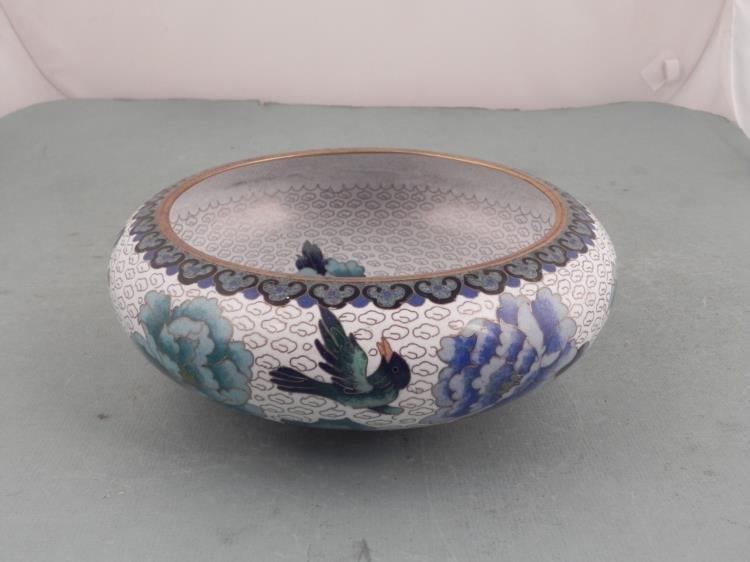 Cloissone Vintage Chinese Marked Bowl w/ Birds