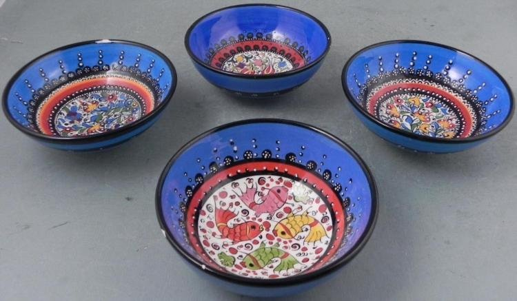 4 Pc Turkish Iznik Pottery Bowls Hand Made -Mavi Deniz