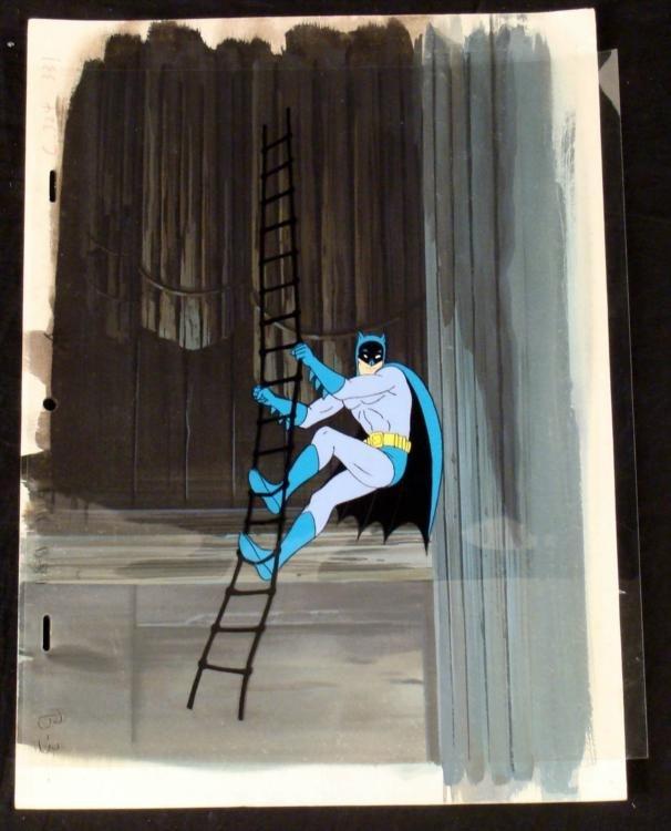 Original Background Animation Cel Batman Climb Rope Art