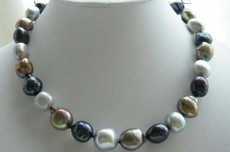 Fine Pearl 12 mm Multicolor Necklace