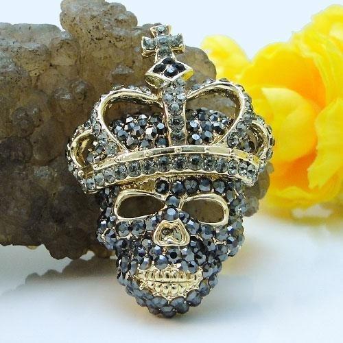 Swarovski Crystal Skull and Crown Brooch Pin