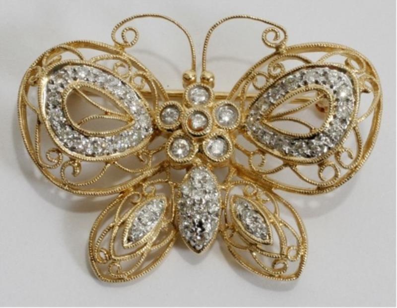 YELLOW GOLD FILIGREE & DIAMOND BUTTERFLY PIN, L 1