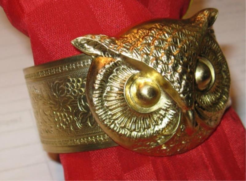 Vintage Art Nouveau Brass Cuff / Owl Bracelet