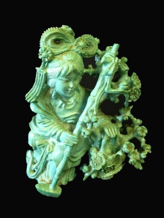 A Chinese carved turquoise figure of a maiden carr