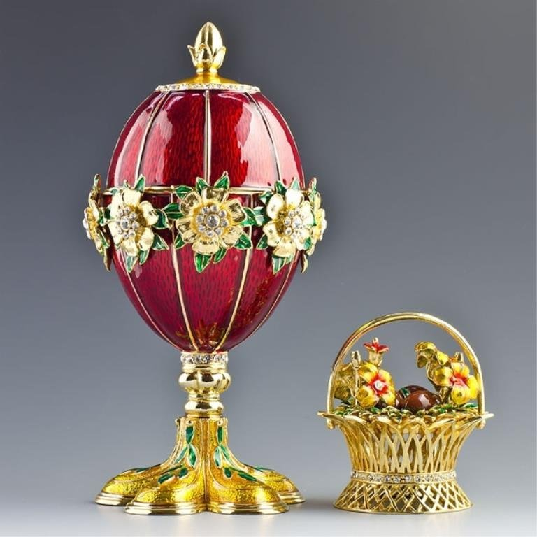 Flowers Basket Faberge Inspired Egg