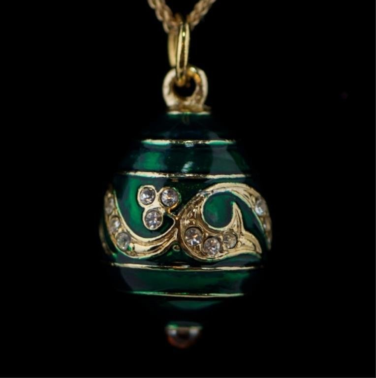 Green Wave Faberge Inspired Egg Pendant