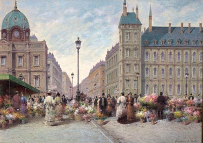 Flower Market signed, dated Oil on Canvas