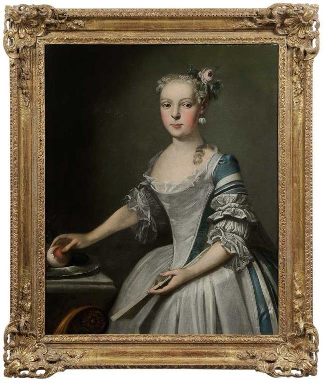Young Lady Holding a Fan and an Orange, OOC 18th C