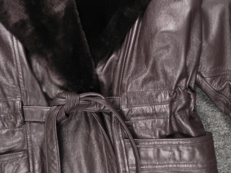 Donna Pelle Ladies Dark Brown Leather Coat w/Faux Fur M - 2