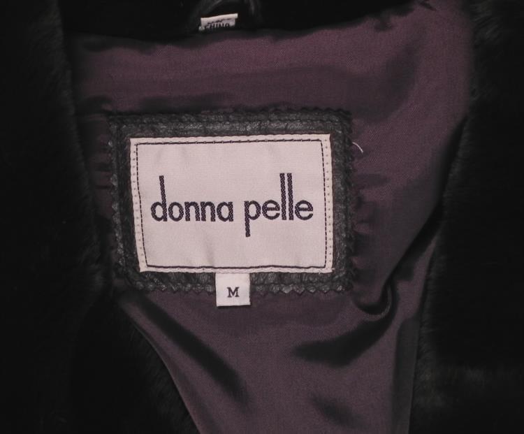 Donna Pelle Ladies Dark Brown Leather Coat w/Faux Fur M - 3