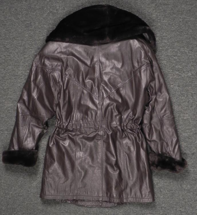 Donna Pelle Ladies Dark Brown Leather Coat w/Faux Fur M - 4