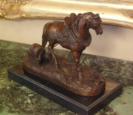 Superb Bronze Sculpture Draft Horse