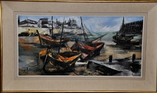 JEAN AMIOT (B. 1920) BOATS France o/c. Signed O/C