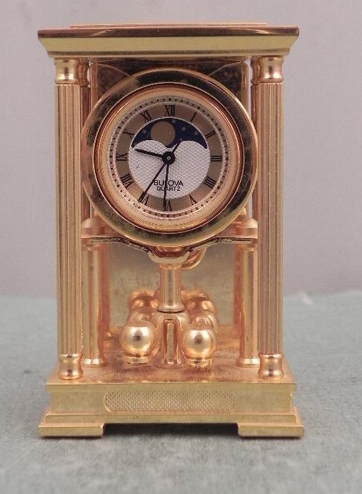 Bulova Mini Mantle Moon Phase Clock Ltd Ed B0510 1988