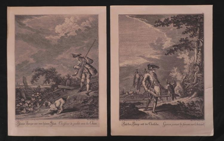 2 Antique French Military Prints w/ Dog & Falcons