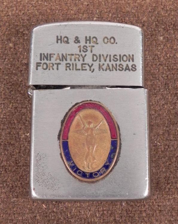 MILITARY LIGHTER-ENGRAVED 1ST INF DIV-FORT RILEY, KS