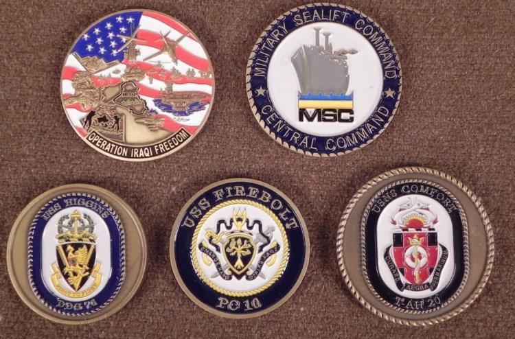 5 LARGE BRASS & ENAMEL CHALLENGE COINS -U.S. MILITARY