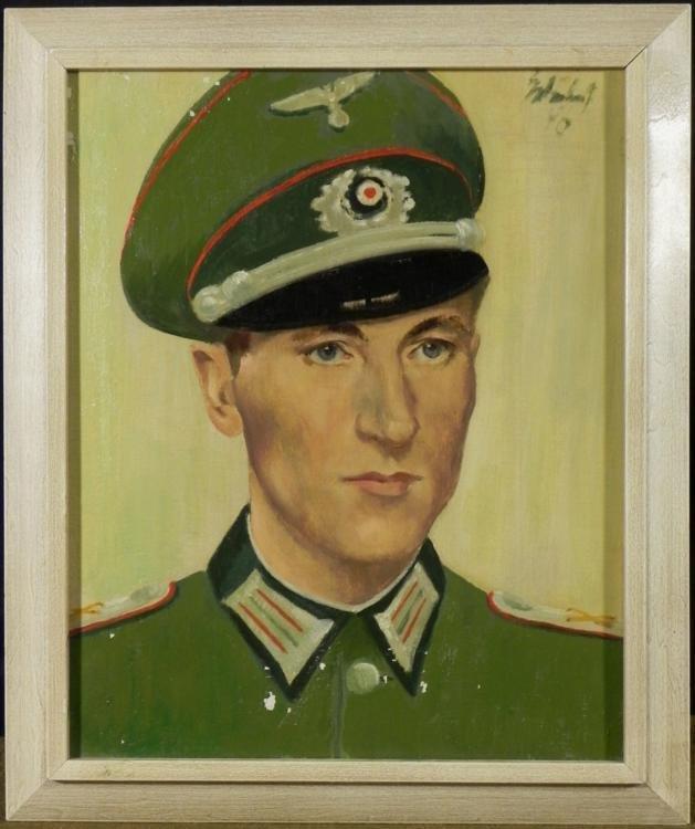 ORIG OIL PAINTING WWII NAZI ARTILLERY OFF. HEINZ LEHNER
