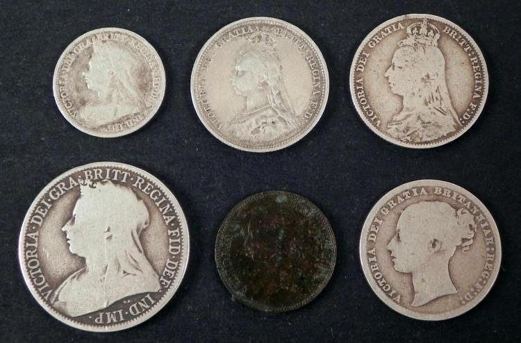 6 Very Old Great Britain Silver Coins Shilling Farthing