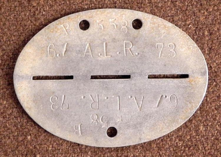 NAZI WEHRMACHT ORIG DOGTAG-6TH DIVISION-73RD ALR