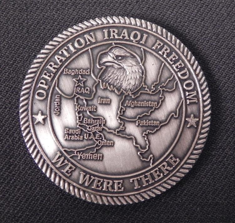 """LARGE """"OPERATION IRAQI FREEDOM"""" CHALLENGE COIN -SILVER"""