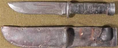 WWII US CATTARAUGUS 225Q COMBAT FIGHTING KNIFE W/SHEATH