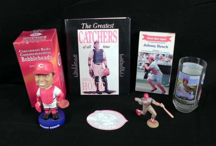 6 Pc Johnny Bench Lot Bobblehead,VHS,Book,Glass,Book