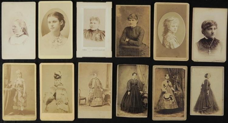 12 Antique CDV Photographs Women and Young Girls