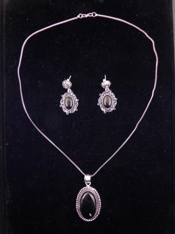 Black Onyx 3 Pc Sterling Earrings, Pendant Necklace Set
