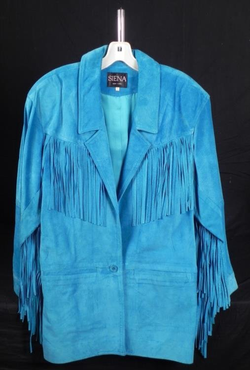 Siena Ladies Turquoise Leather Jacket w/Fringe Sz L