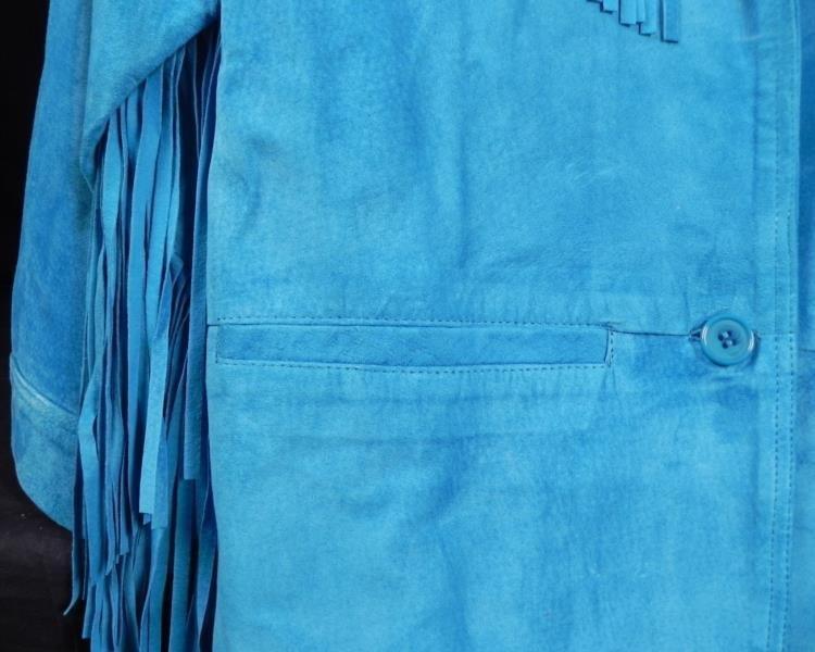 Siena Ladies Turquoise Leather Jacket w/Fringe Sz L - 2