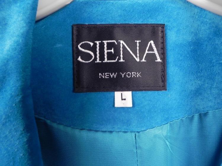 Siena Ladies Turquoise Leather Jacket w/Fringe Sz L - 3