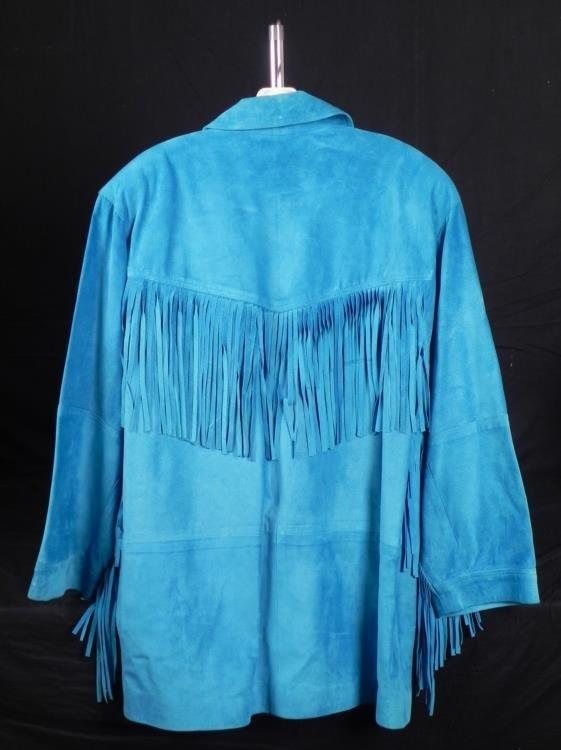 Siena Ladies Turquoise Leather Jacket w/Fringe Sz L - 4