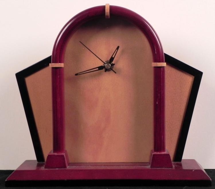 Art Deco Style Wooden Mantle / Desk Clock
