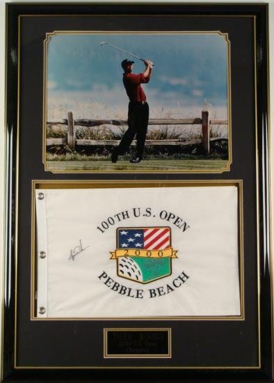 Tiger WOODS Signed 100th US Open Golf FLAG Photo