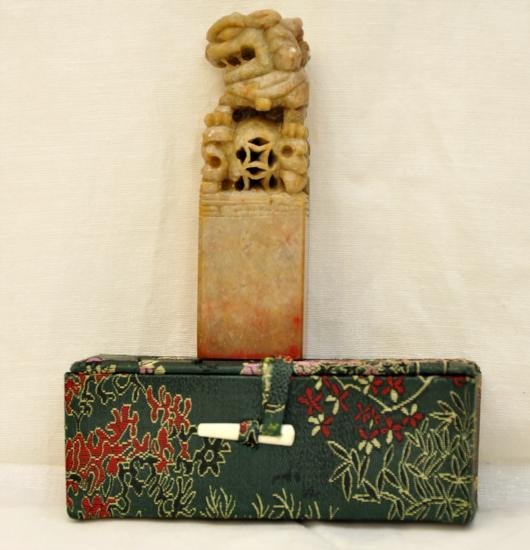 Asian soapstone seal foo lio hand carved 4  tall
