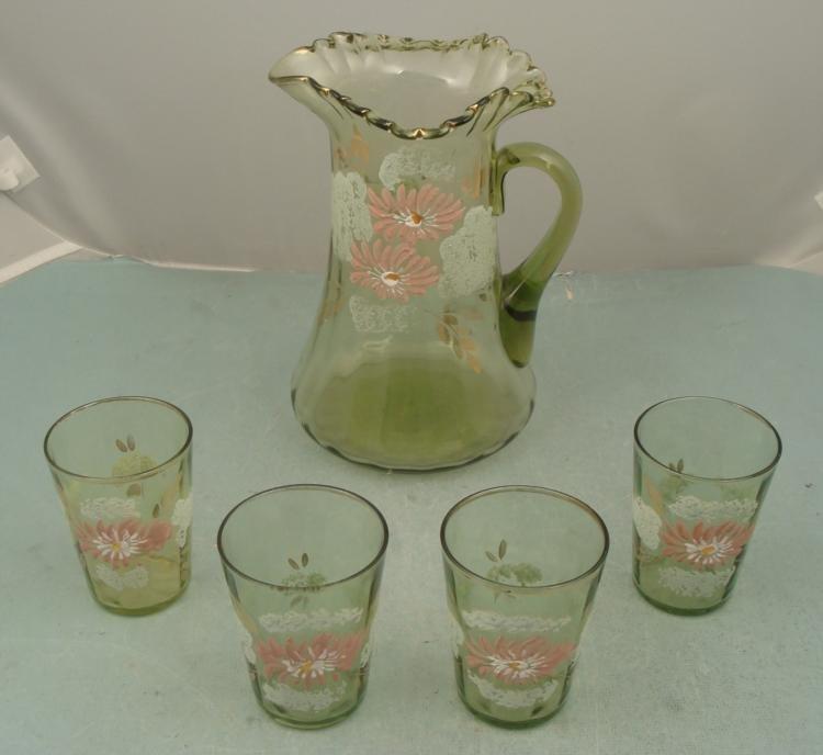 Victorian Art Glass Pitcher & 4 Glasses -Green, Pink