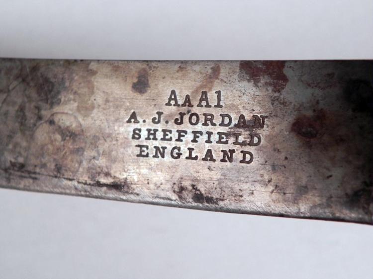 "WWI BRITISH MILITARY KNIFE-MARKED ""AAA1-A.J. JORDAN - 3"