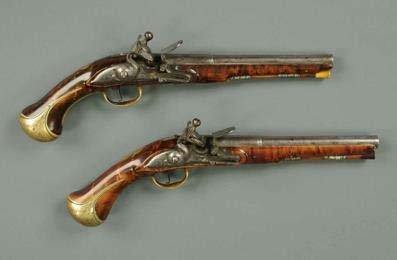 A pair of 18th century Flintlock pistols circa